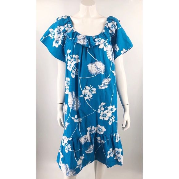 VTG Hilo Hattie Hawaiian Dress Plus 3X Blue White
